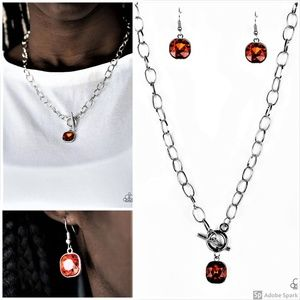 Orange Necklace and Earrings Set Toggle Clasp